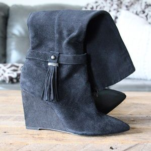 Nine West | black wedge heel tassel suede boots
